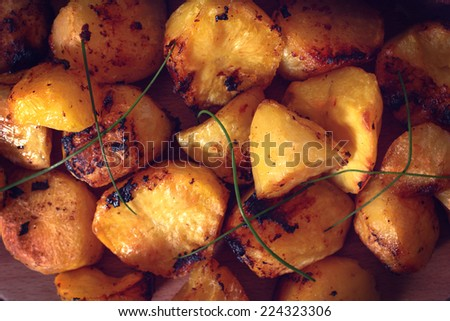 Large group of baked potatoes,selective focus  - stock photo