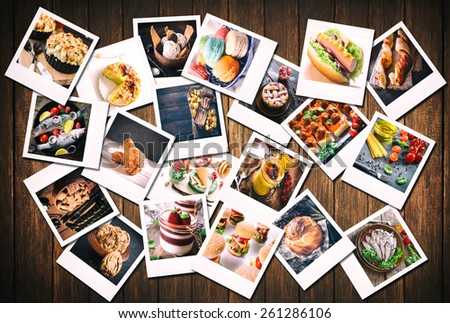 Large group of blank old camera films with food photos on wooden background  - stock photo