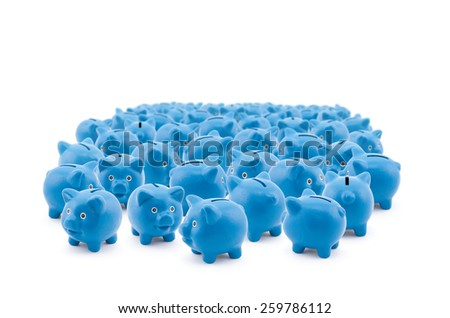 Large group of blue piggy banks - stock photo