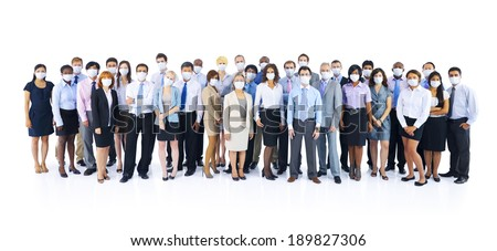 Large Group of Business People Keeping Silence