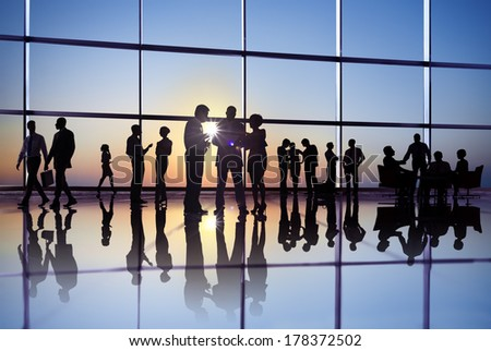 Large Group of Business People Meeting at Sunrise - stock photo