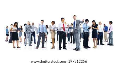 Large Group of Business People Talking