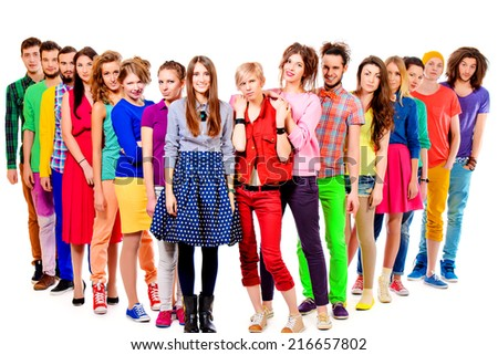 Large group of cheerful young people. Full length portrait. Isolated over white. - stock photo