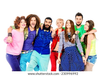 Large group of cheerful young people. Isolated over white. - stock photo