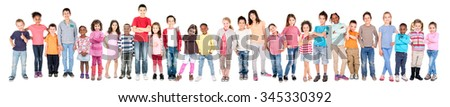 Large group of children posing isolated in white - stock photo