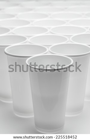 Large group of disposable plastic cups. - stock photo