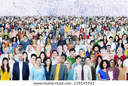 Large Group of Diverse Multiethnic Cheerful Concept - stock photo