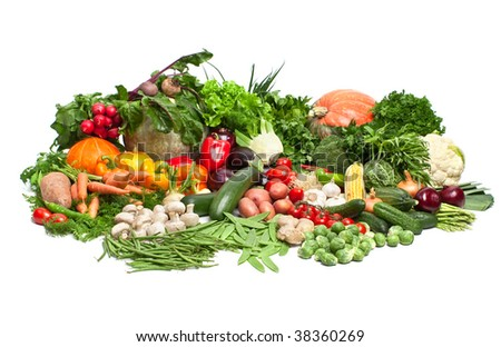 Large  Group of Fresh Vegetables - stock photo