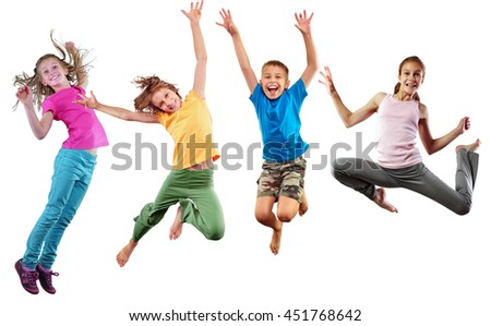 Large group of happy cheerful sportive children jumping, sporting and dancing. Isolated over white background. Childhood, freedom, happiness, active lifestyle concept. - stock photo