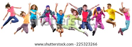 Large group of happy children exercising, jumping and having fun. Isolated over white background. Childhood, happiness, active lifestyle concept - stock photo
