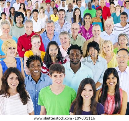 Large Group of multi- ethnic people - stock photo