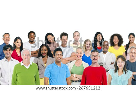 Large group of multi - ethnic people - stock photo