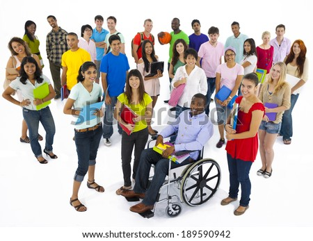 Large group of multi-ethnic young people - stock photo