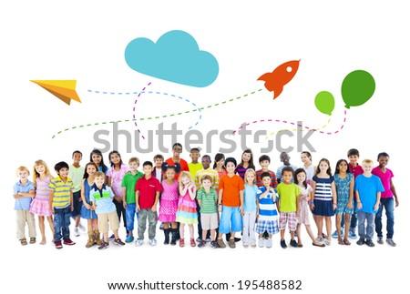 Large Group of Multiethnic Children Childhood Activities - stock photo