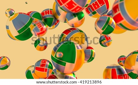 Large group of  orbs or spheres levitation in empty space. 3D rendering. Sale text and geometry pattern textured surface - stock photo