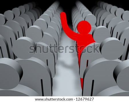 Large Group Of People and man up hand - stock photo