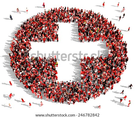 Large group of people dressed in red clothes gathered together in the shape of a plus sign - stock photo