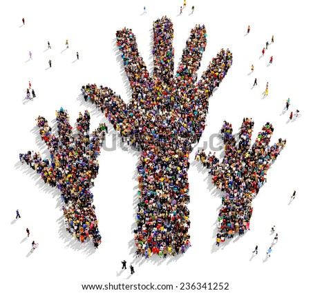 Large group of people gathered in the shape of three raised hands - stock photo
