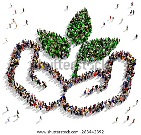 Large group of people gathered together in the shape of a hands holding a green plant - stock photo