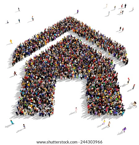 Large group of people gathered together in the shape of a house symbol - stock photo
