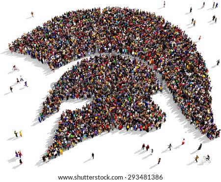 Large group of people gathered together in the shape of a warrior helmet - stock photo