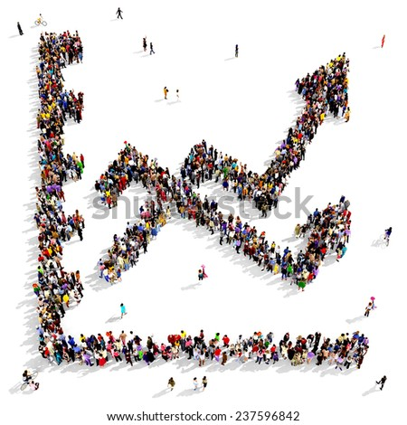 Large group of people gathered together in the shape of growing graph icon - stock photo