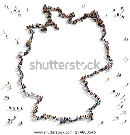 Large Group People Seen Above Gathered Stock Illustration - Germany map shape