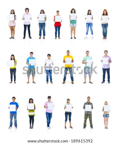 Large Group of People Holding Boards - stock photo