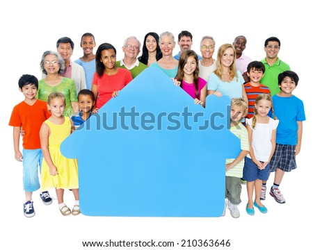 Large Group of People Holding Home Symbol - stock photo