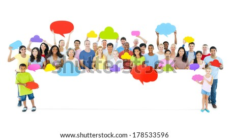 Large Group of People Holding Placard and Speech Bubbles - stock photo