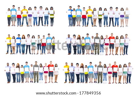 Large Group of People Holding Placards - stock photo