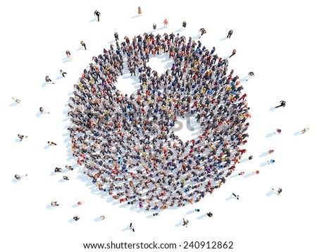 Large group of people in the form of a bowling ball, sports. Isolated, white background. - stock photo