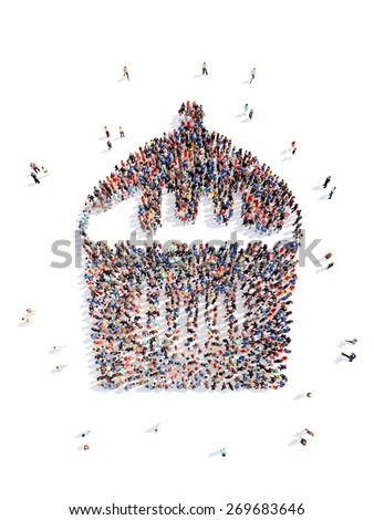 Large group of people in the form of a cake. Isolated, white background. - stock photo