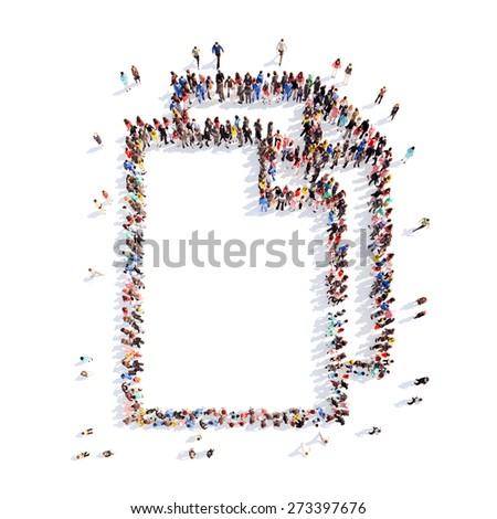 Large group of people in the form of a folder. Isolated, white background. - stock photo