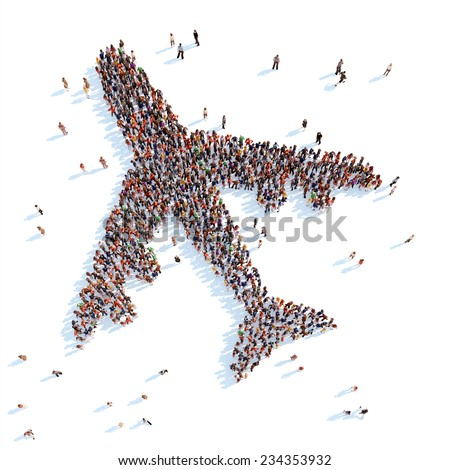 Large group of people in the form of an airplane. White background. - stock photo