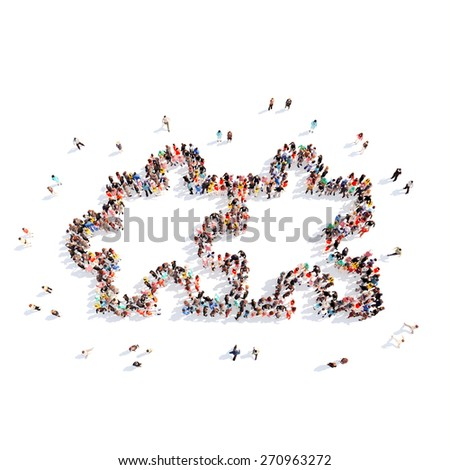 Large group of people in the form of children's puzzles. Isolated, white background. - stock photo
