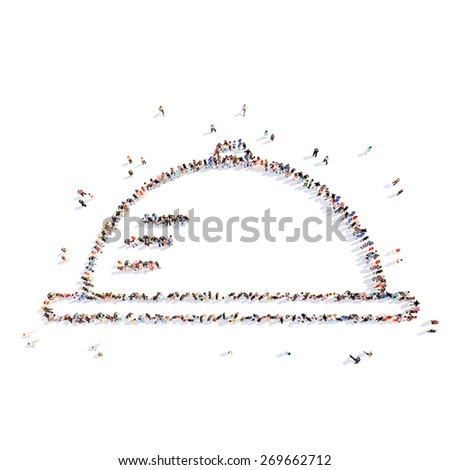 Large group of people in the form of crumbling. Isolated, white background. - stock photo