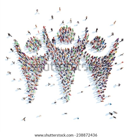 Large group of people in the form of mans. White background. - stock photo