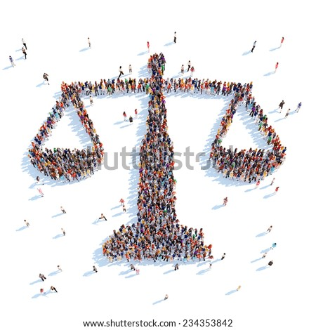 Large group of people in the form of scales. White background. - stock photo