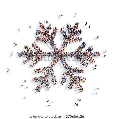 Large group of people in the form of snowflakes. Isolated, white background. - stock photo