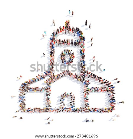 Large group of people in the form of the church. Isolated, white background. - stock photo