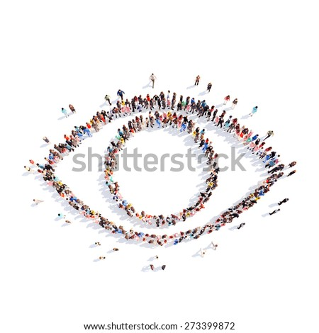 Large group of people in the form of the eye. Isolated, white background. - stock photo