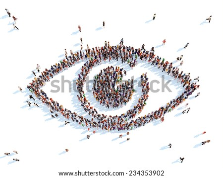 Large group of people in the form of the eye. White background. - stock photo