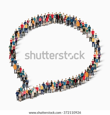 Large group of people in the shape of chat bubbles.  - stock photo