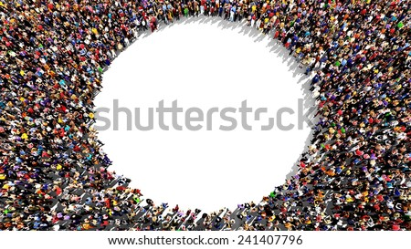 Large group of people seen from above, gathered in the shape of a circle, standing on a white background - stock photo