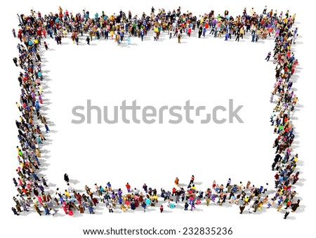 Large group of people seen from above, gathered in the shape of a rectangle standing on white background - stock photo