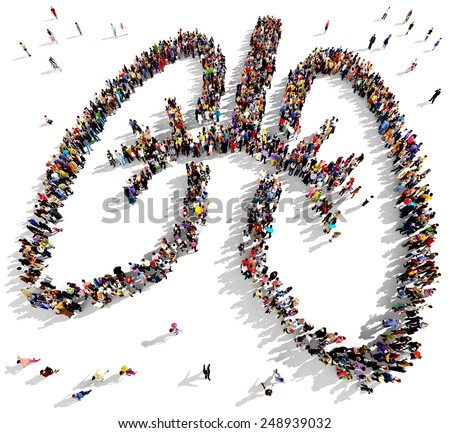 Large group of people seen from above gathered in the shape of human lungs - stock photo