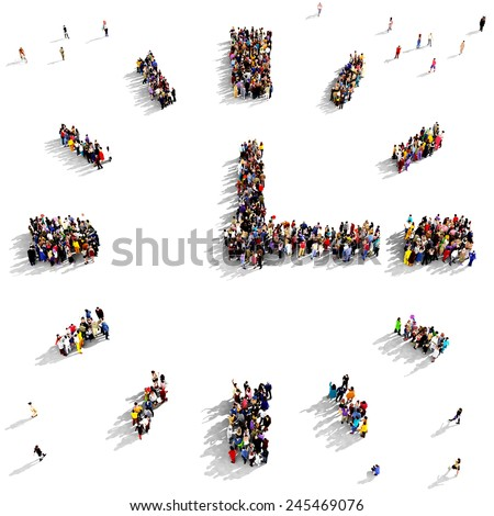 Large group of people seen from above gathered together in the shape of a clock - stock photo