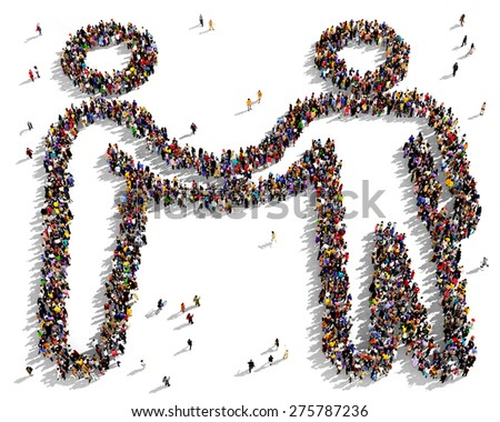 Large group of people seen from above gathered together in the shape of a friendship symbol - stock photo