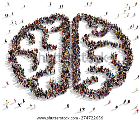 Large group of people seen from above gathered together in the shape of a human brain - stock photo